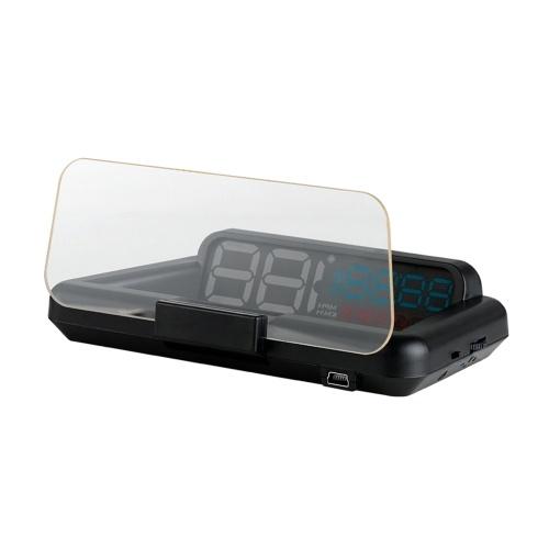 HUD Head Up Display Спидометр высокой четкости Автомобиль Безопасный компьютер для вождения Сигнализация скорости и напряжения 3D Отображение отражения
