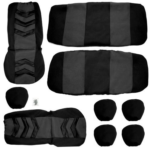 Cubierta de asiento de coche universal Set 9pcs Asiento cubre asiento delantero asiento de respaldo Capa de malla negro y gris