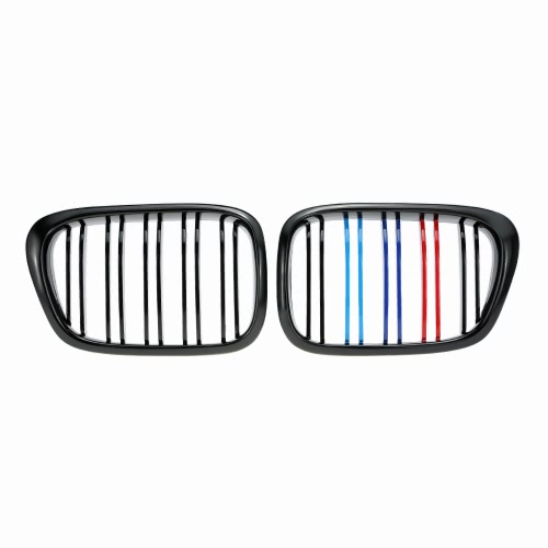 One Pair Front Center Kidney Grilles Gloss Black Mixed Color Grill for BMW E39 518 520 523 525 528 530 1999-2003