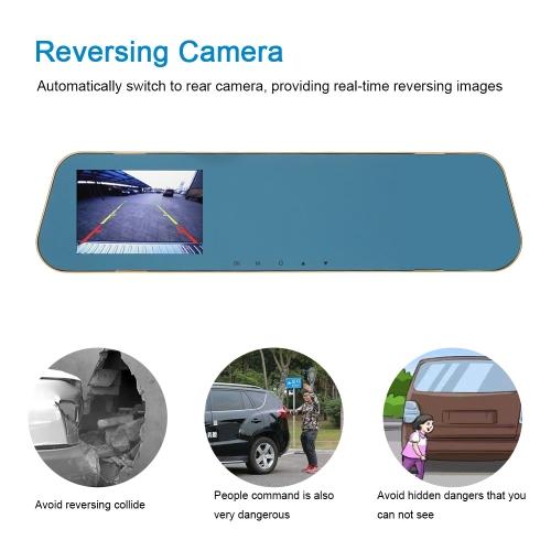 KKmoon 4'' 1080P FHD Dual Lens Car DVR Rear View Dash Cam Video Camera Recorder