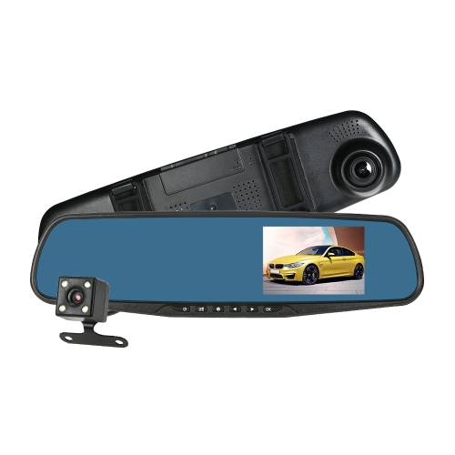 KKmoon 4'' 1080P FHD Dual Lens Car DVR Rear View Dash Cam Video Camera Recorder