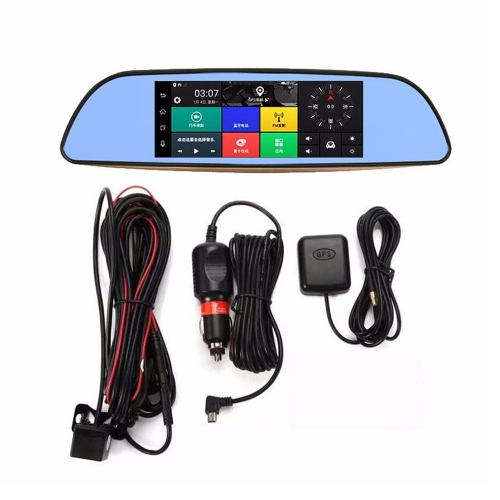 3G WIFI Car DVR GPS Nagivation 7 1080P Android 5.0 Smart BT Rearview Mirror Dual Camera Video Record
