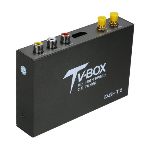 HD DVB-T DVB-T2 Car Auto Mobile Digital TV Box H.265 Receptor Sintonizador de antena dupla