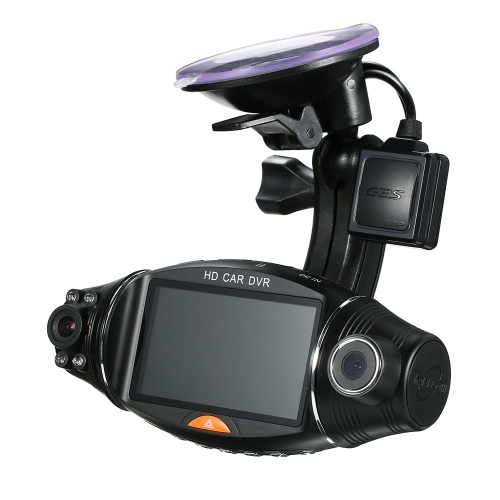 1080P HD 2.7'' Dual Lens Dash Cam Car DVR Video Recorder Camera GPS Module