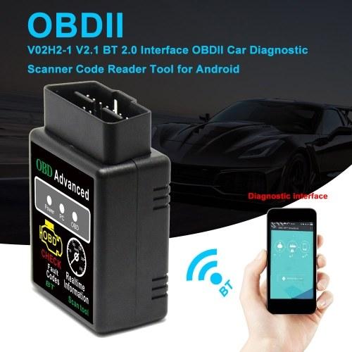V02H2-1 V2.1 BT 2.0 Interface OBDII Car Diagnostic Scanner Code Reader Tool for Android
