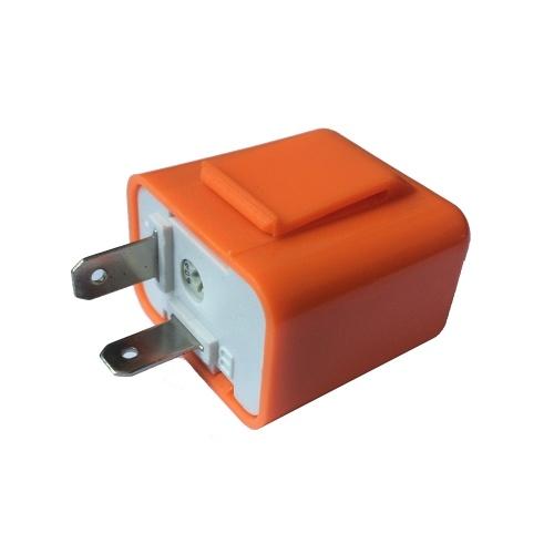 12 V 2 Pin Velocidad Ajustable LED Indicador Flasher Turn Signal Light Relay Resistor Fix Hyper Control Flash para Motocicleta Naranja Color
