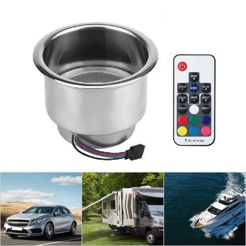 Cup Holder RGB LED Light Drink Cup Holder Remote Control Stainless Steel for Marine Boat Car Truck RV
