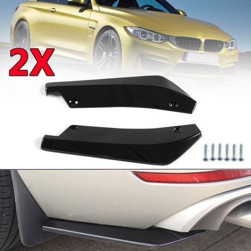 2pcs Universal Plastic Black Front Shovel Car Racing Bumper Spoiler Protector