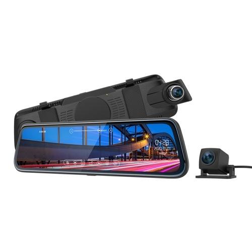 ThiEYE 10-дюймовый IPS с сенсорным экраном зеркало заднего вида Dash Cam FHD 1080P с двумя объективами Автомобильный видеорегистратор
