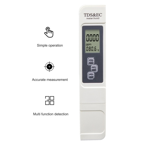 3 в 1 TDS EC Тестер качества воды Температура Цифровой дисплей для питьевой воды Аквариумы Бассейн Спа