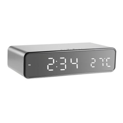 温度計ワイヤレス充電器付きLEDデスク目覚まし時計