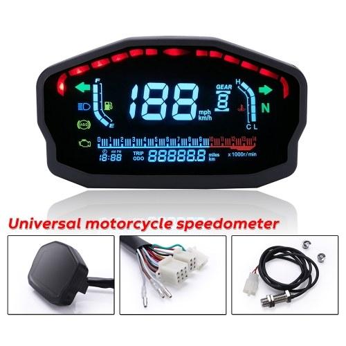 Универсальный мотоцикл метр ЖК-дисплей с цифровой подсветкой одометр-спидометр-тахометр-датчик постоянного тока 12 В для замены 1,2,4 цилиндров для BMW Honda Ducati Kawasaki Yamaha