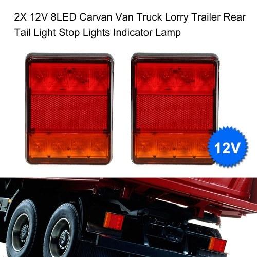 2X 12V 8LED Carvan Van Truck Lorry Trailer Rear Tail Light Stop Lights Indicator Lamp