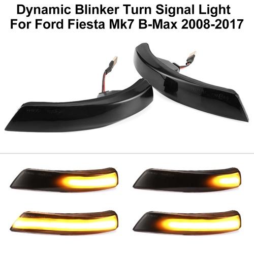 2 piezas de luz de señal de giro dinámica LED de ala lateral espejo retrovisor indicador de luz intermitente reemplazo para Ford Fiesta Mk7 B-Max 2008-2017