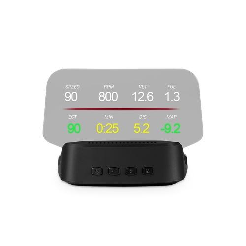 Автомобильный HUD-дисплей, OBD + GPS Head Up Display Спидометр высокой четкости Инструмент диагностики автомобиля Устранение кода неисправности OBD Безопасный компьютер вождения Сигнализация о превышении скорости для всех транспортных средств