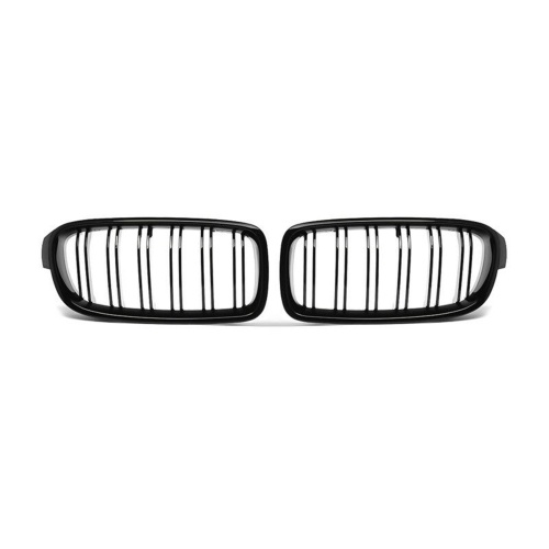 2Pcs Gloss Black Front Bumper Hood Kidney Grille Double Line Racing Grille Replacement for BMW F30 F31 F35 3 Series 2012-2016