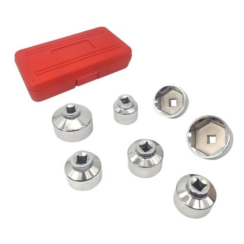 7 Stück 3/8 '' Ölfilterdeckel-Steckschlüsselsatz Werkzeugsatz 24 27 29 30 32 36 38mm Ersatz für Mercedes Benz VW BMW