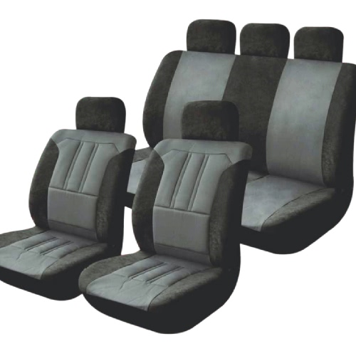 Universal Car Seat Cover Set 9Pcs Seat Covers Front Seat Back Seat Headrest Cover Microfiber Black and Gray