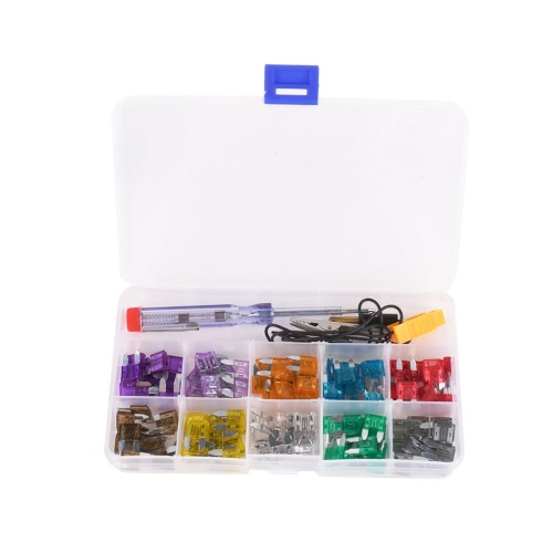 100pcs Mini Car Fuse Kit Color Coded for Ten Amps Fuses with Alligator Clip Electric Tester Tweezer Fuse Puller