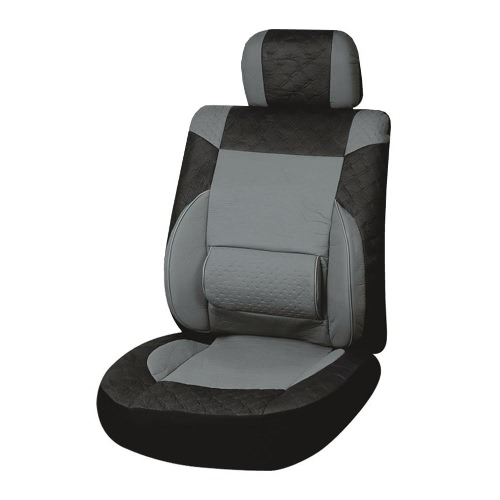 Universal PU Leather Car Front Single Seat Covers Black Grey