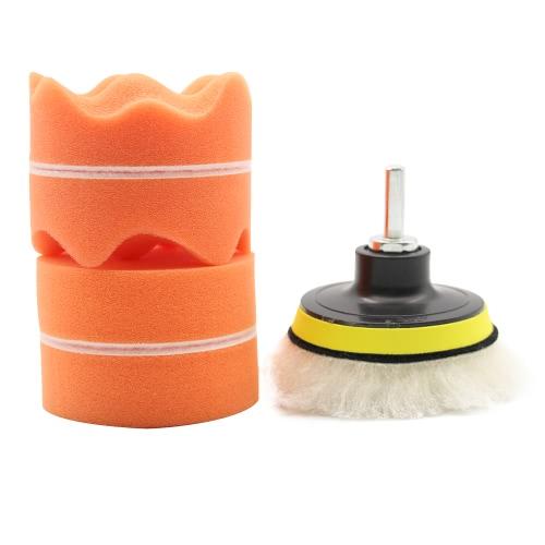 7Pcs 3 pulgadas herramienta automática de pulido Buffing Pad Set Belleza encerado Drill adaptador de la rueda curvada lana Buffer esponja para el coche