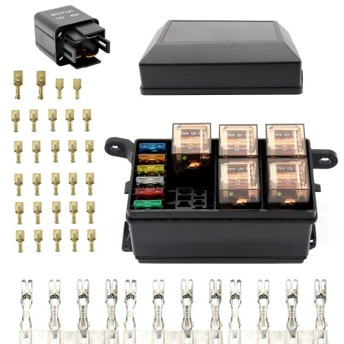 12-Slot Relay Box 6 Relays Slots 6 ATC/ATO Standard Fuses Holder Block with 6Pcs Relays, 6Pcs Fuses Universal for Automotive and Marine Use