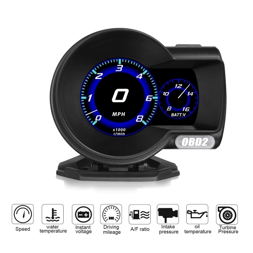 F8 Multifunktions-OBD-Instrument High Definition LCD-Farbbildschirm Auto HUD Head-up-Display