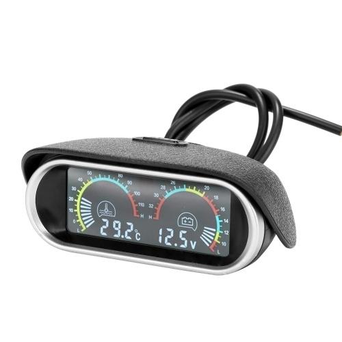 2 en 1 Universal 12,0 V / 24 V LCD coche de cristal líquido digital indicador horizontal aceite combustible voltaje medidores voltímetro
