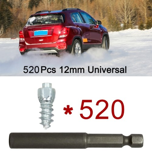 520Pcs Car Tires Studs Screw Snow Tire Studs Spikes Wheel Tyres Snow Chains Studs for Car Motorcycle Tires Winter Universal