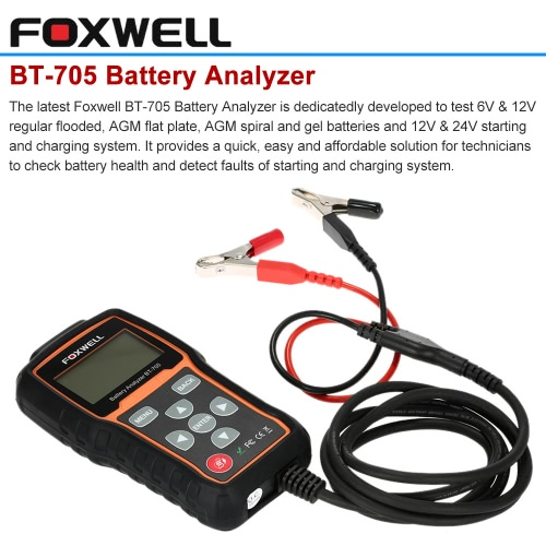 FOXWELL BT-705 Auto Car 12V Battery Analyzer Tool Diagnostic Scan Tester Scanner with Test Cable