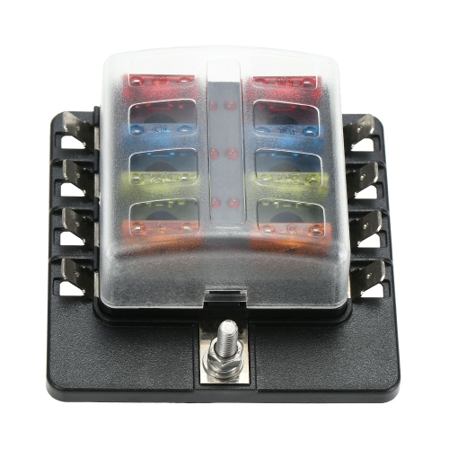 8 Way Blade Fuse Block Box Holder with LED Warning Light for Car Boat Marine Caravan 16 Fuses