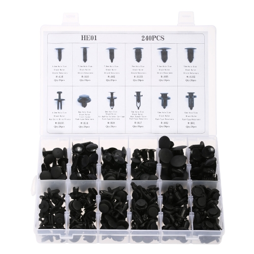 240pcs Car Body Retainer Push Tipo Pin Rivet Trim Clip Panel Stampaggio Assortimento