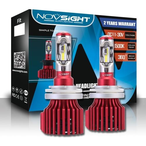 NOVSIGHT a mené 9005 / HB3 les phares menés par voiture Salut / lo faisceau 9005 HB3 60W 10000LM antibrouillards Lampes Ampoules