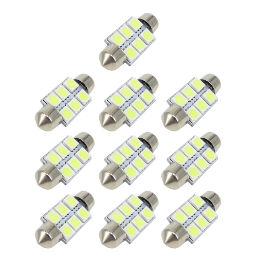 10 Pcs Branco 36mm Festão 6 SMD 5050 LED Car LED Auto Interior Dome Porta Lâmpada Lâmpada