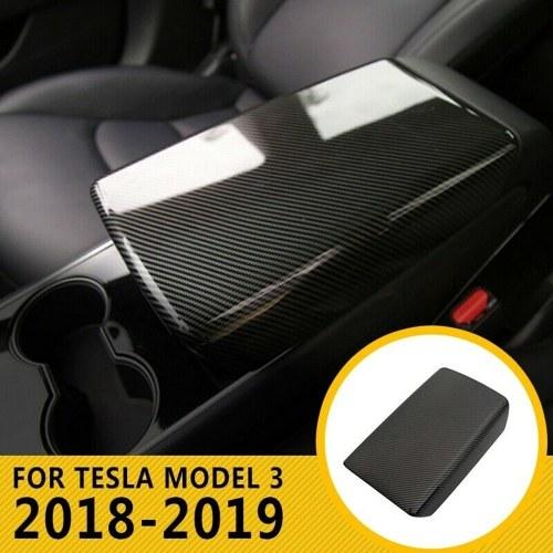 Carbon Fiber Texture Car Center Storage Armrest Cover Trim Car Center Console Protector Box for Tesla Model 3 2018-19