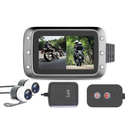 Motorcycle Recording Dash cam Dual 2 Channels Lens Front & Rear 1080P Driving Recorder with GPS 140° Wide Angle 3'' LCD, 64G Max