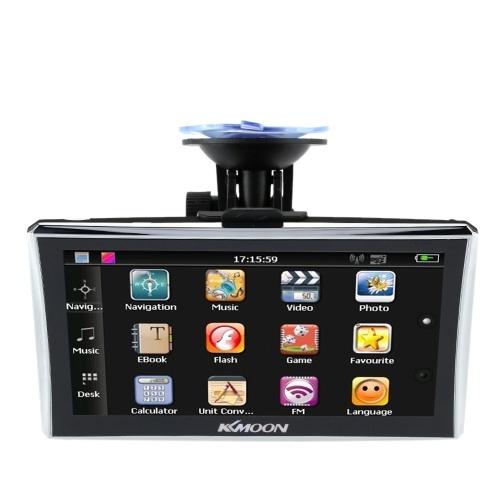 KKMOON 7-Zoll-HD-Touchscreen Tragbarer GPS-Navigator 128 MB RAM 4 GB ROM FM MP3-Video-Wiedergabe-Auto-Unterhaltungssystem mit Rückenstütze + kostenloser Karte