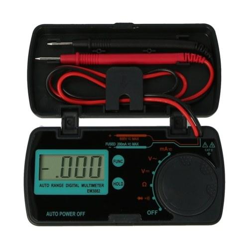 EM3082 Mini multímetro digital CA CC Voltios AMP OHM LCD Voltímetro Datos de apagado automático