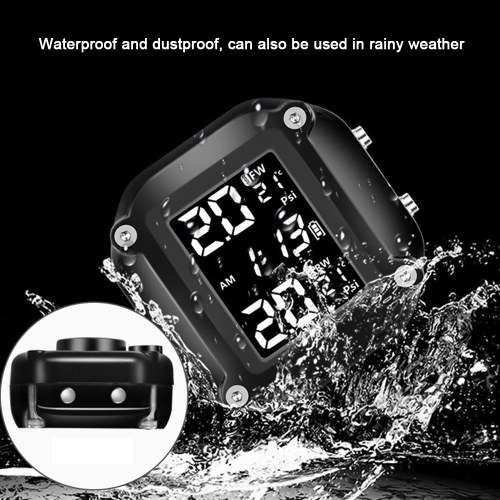 Motorcycle Tire Pressure Monitor TPMS Detector Portable Tire Pressure Monitoring System Detecting System High Accuracy Multi-function Waterproof Tire Pressure Monitor