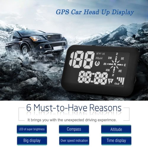 Universal GPS Car HUD Head Up Display KM/h & MPH Speeding Warning Windshield Project System