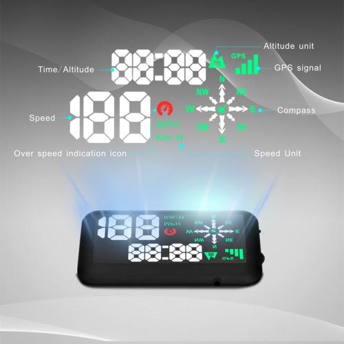GPS universal coche HUD cabeza pantalla KM/h y MPH velocidad ADVERTENCIA parabrisas proyecto sistema