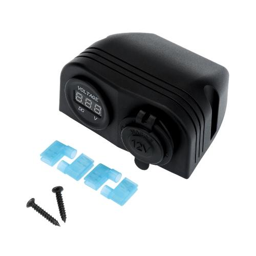 Adaptateur chargeur voiture allume-cigare prise + voltmètre numérique