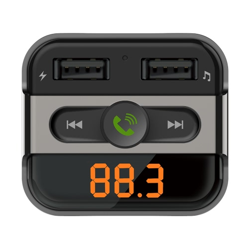 Llamar a Car Kit BT manos libres de teléfono del transmisor de FM Reproductor de MP3 con ranura para tarjeta TF USB de doble cargador del coche del puerto para el iPad iOS Android del teléfono móvil GPS Navigator