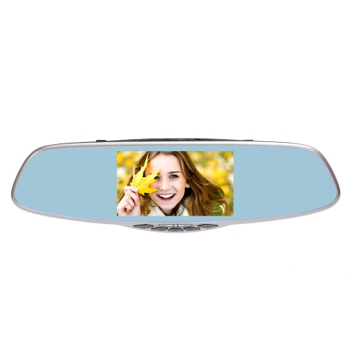KKmoon 5.0 inch 1080P Dual Lens Car Camera Rearview Mirror Recorder with G-Sensor / Parking Monitor