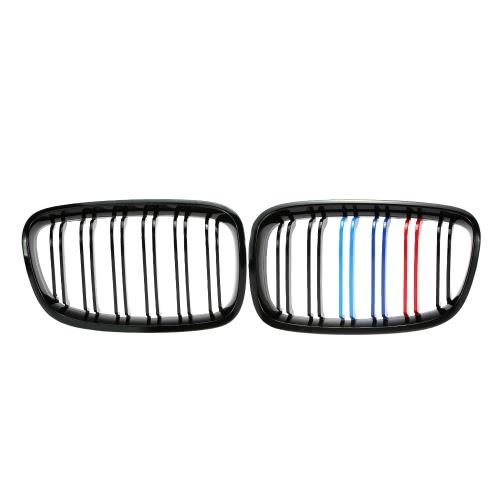 One Pair Front Center Kidney Grilles Gloss Black Mixed Color Grill for BMW F20 116i 118i 120i 125i 135i 2012-2014