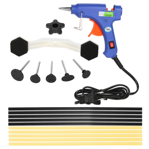 17Pcs Dent Puller Kit avec Hot Melt Glue Gun colle Sticks pour voiture Body Dent Repair