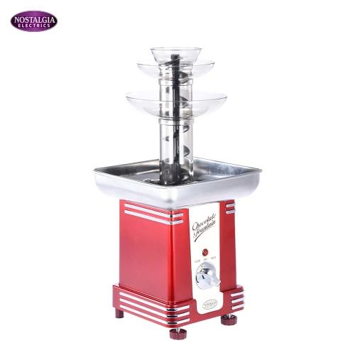 Nostalgia RFF500 50s-Style 3-Tier Chocolate Fondue Fountain Machine for Wedding Birthday Party Hotel Home