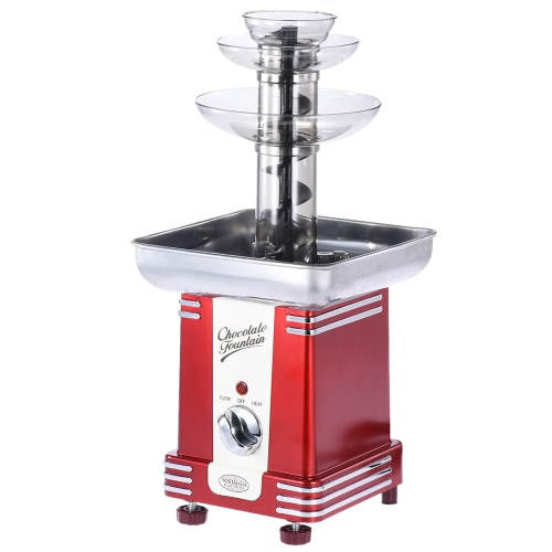 Nostalgia RFF500 50s-Style 3-Tier Chocolate Fondue Fountain Machine for Wedding Birthday Party Hotel Home KB0019