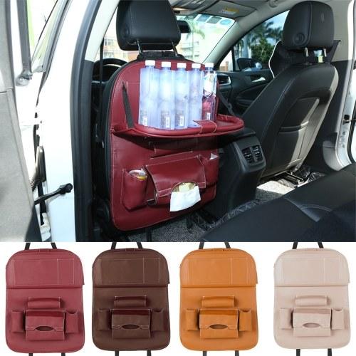 Car Backseat Organizer PU Leather Auto Back Seat Cushion for Kids Black