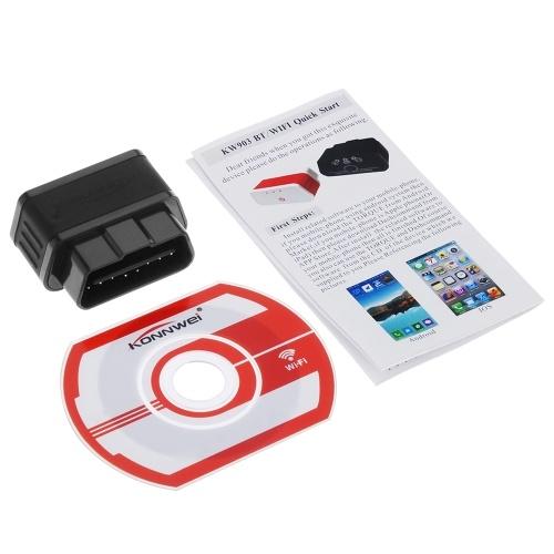 KONNWEI WiFi ODBII адаптер считыватель кодов Диагностический сканер для Iphone Android ПК Автоматический сканер кодов (черный красный) KW903 фото